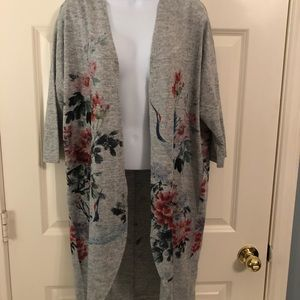 Heather grey duster with bird detail